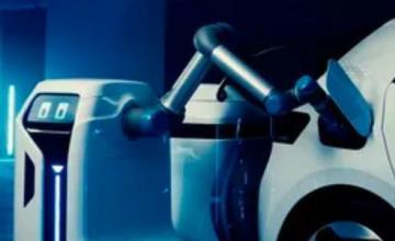 大众挑逗电动汽车充电机器人